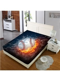 A Baseball In Water And Fire Reactive Printing 1-Piece Polyester Bed Cover / Mattress Cover