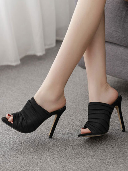 Milanoo High Heel Mules Women Black Open Toe Ruched Stiletto Heel Backless Mule Shoes