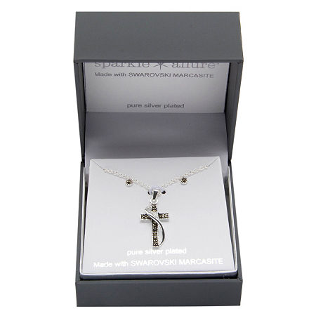 Sparkle Allure 2-pc. Pure Silver Over Brass Cross Jewelry Set, One Size , No Color Family