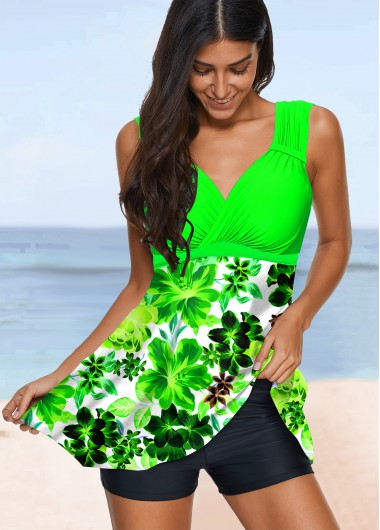 Floral Print Wide Strap Green Swimdress and Shorts - XL