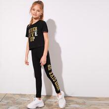 Girls Gold Slogan Graphic Top & Leggings Set