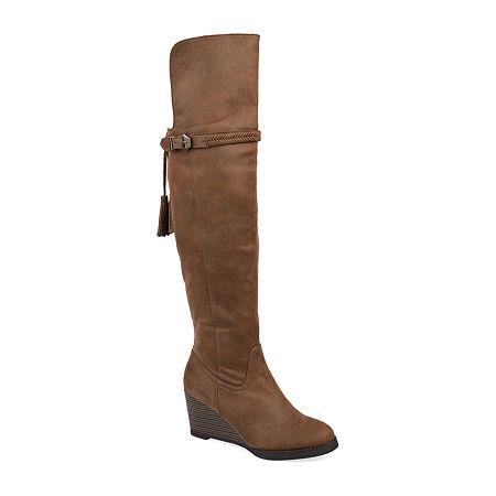 Journee Collection Womens Jezebel Wedge Heel Over the Knee Boots, 10 Medium, Brown