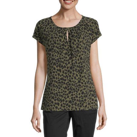 Liz Claiborne Womens Round Neck Short Sleeve Blouse, Xx-large , Green