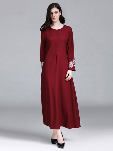 Milanoo Oversized Abaya Dress Long Sleeve Round Neck Embroidered Kaftan Dress