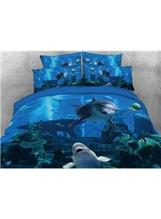 Vivilinen 3D Dolphins Swimming in Blue Ocean Printed 5-Piece Comforter Sets