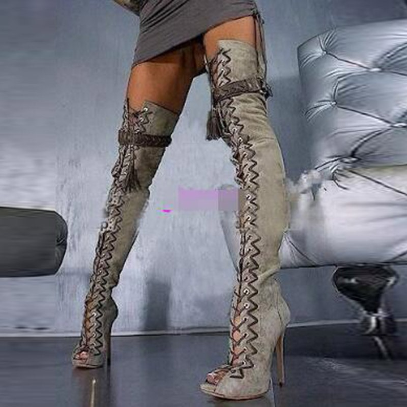 Ericdress Peep Toe Stiletto Heel Knee High Boots