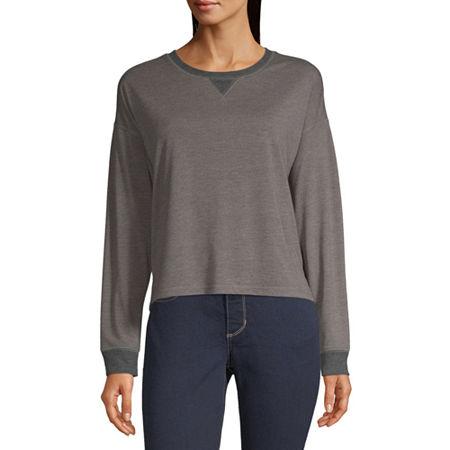 Arizona Juniors Freeform Womens Round Neck Long Sleeve Sweatshirt, 3x-large , Gray