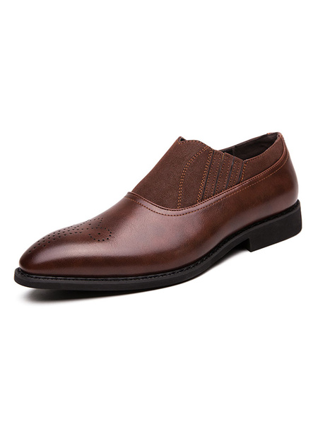 Milanoo Mens Brown Loafers Shoes Slip-On Distressed Pointed Toe PU Leather Shoes