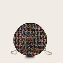 Round Shaped Tweed Chain Bag