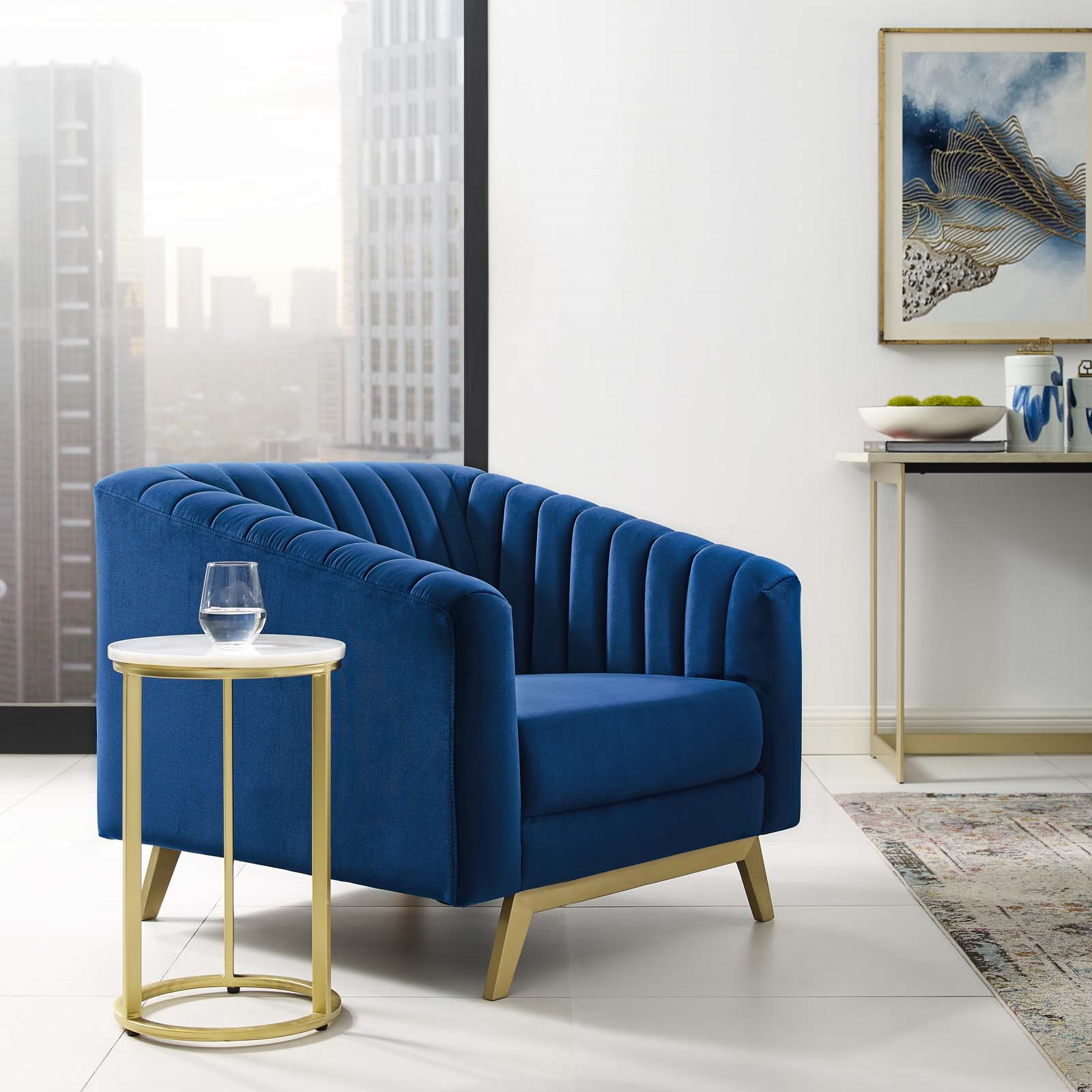 Valiant Vertical Channel Tufted Performance Velvet Armchair in Navy