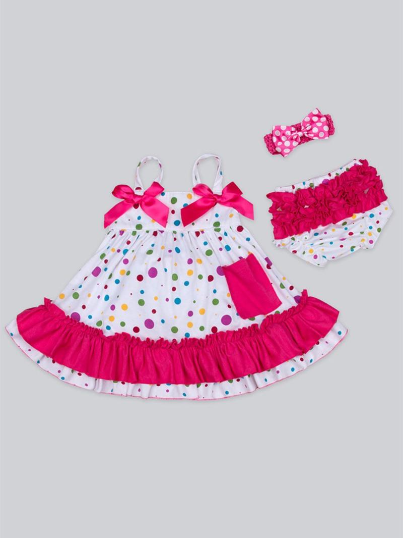 Ericdress Polka Dots Dress Underwear Headband 3-Pcs Baby Girls Outfit