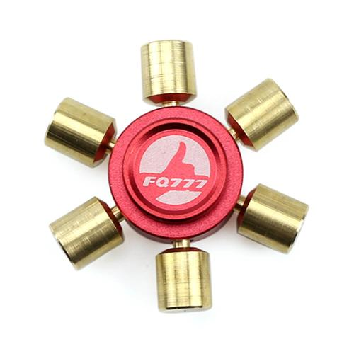 FQ777 Brass Hexagonal Fidget Hand Spinner Fingers Gyro Reduce Stress Focus Attention - Red and Gold
