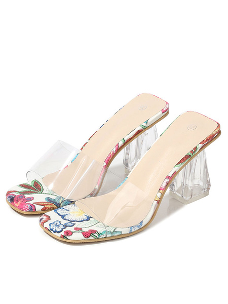 Milanoo Womens Clear Sandals Slippers Open Toe Block Heel Sandals