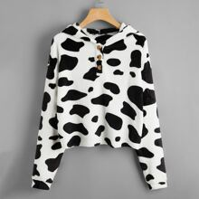 Button Front Cow Pattern Flannel Hoodie
