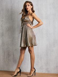 Tie Front High Waist Metallic Skater Dress