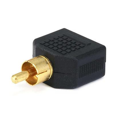 RCA Plug to 2 x 3.5mm Mono Jack Splitter Adapter, Gold Plated - Monoprice®