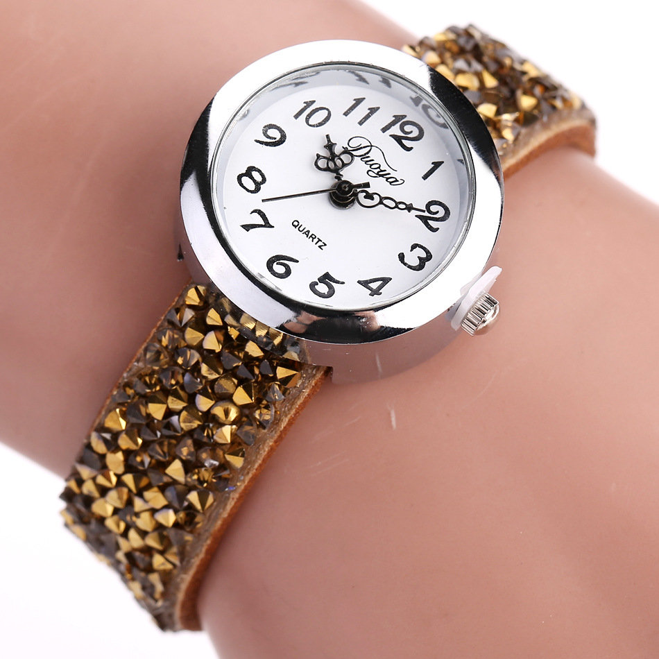 Fashion Quartz Wristwatch Multicolor Leather Rhinestone Strap Causal Bracelet Watch for Women