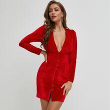 Plunging Neck Button Front Velvet Dress