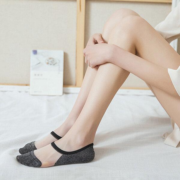 Women Crystal Silk Thin Breathable Boat Socks Casual Silicone Non-slip Invisible Boat Socks
