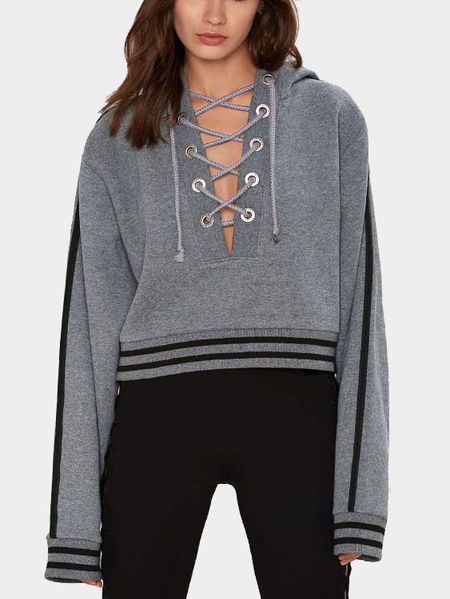 Yoins Grey Lace-up Design Thicken Causal Hoodie
