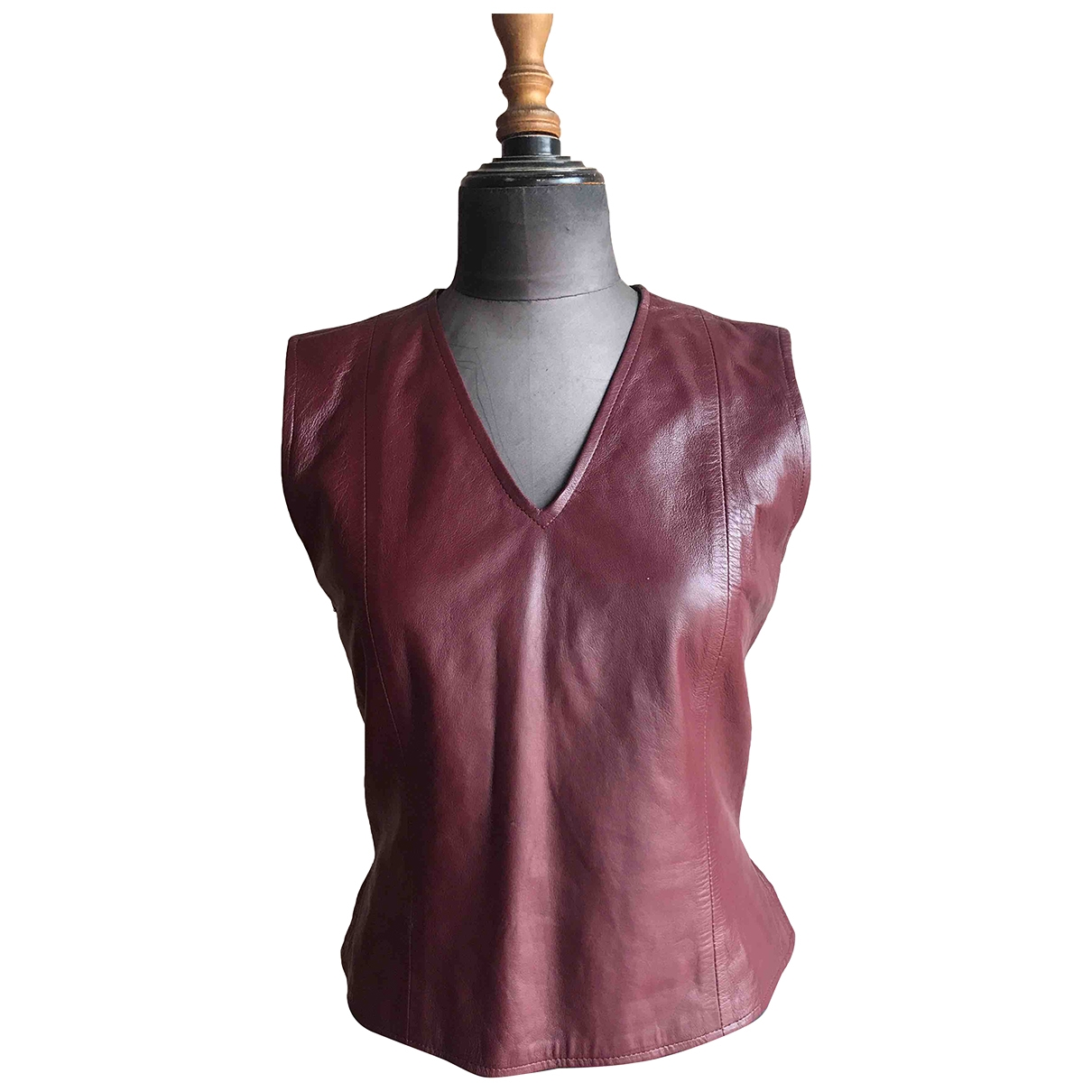 Non Signé / Unsigned \N Burgundy Leather  top for Women M International