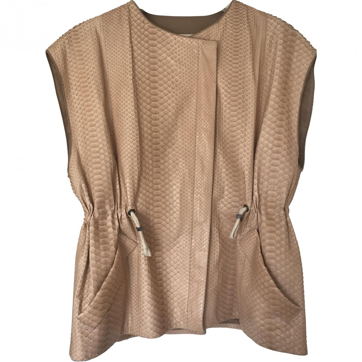 Brunello Cucinelli \N Beige Python Leather jacket for Women 46 IT