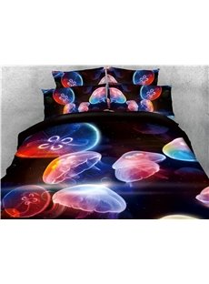 Floating Jellyfish and Galaxy Printed 4-Piece 3D Bedding Sets/Duvet Covers