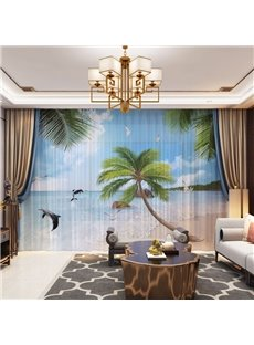 3D BeachTheme Coconut tree and Jumping Dolphin Printed Decorative 2 Panels Custom Sheer