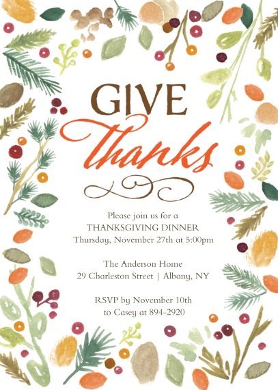 Thanksgiving Photo Cards 5x7 Cards, Standard Cardstock 85lb, Card & Stationery -Thanksgiving Invite Watercolor
