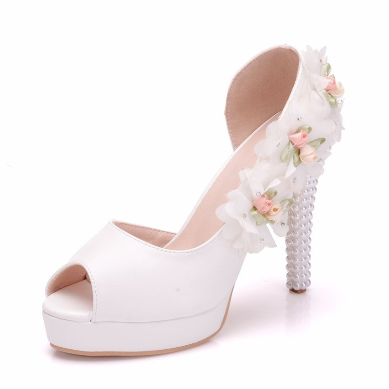 Ericdress Beads Floral Slip-On Peep Toe Women's Wedding Shoes