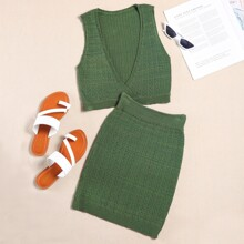 Plunging Pointelle Knit Tank Top With Knit Skirt