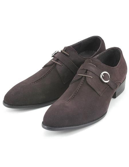 Mens stylish brown suede strap oxford zota shoes
