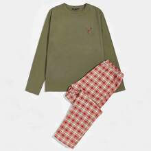 Men Embroidered Detail Top & Tartan Pants PJ Set