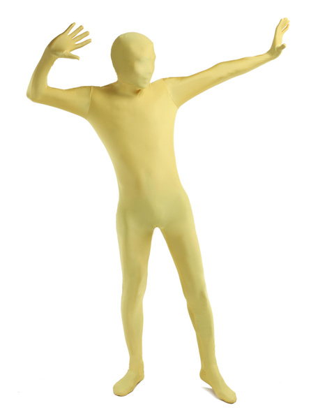 Milanoo Morph Suit Yellow Lycra Spandex fabric Zentai Suit Unisex Full Body Suit