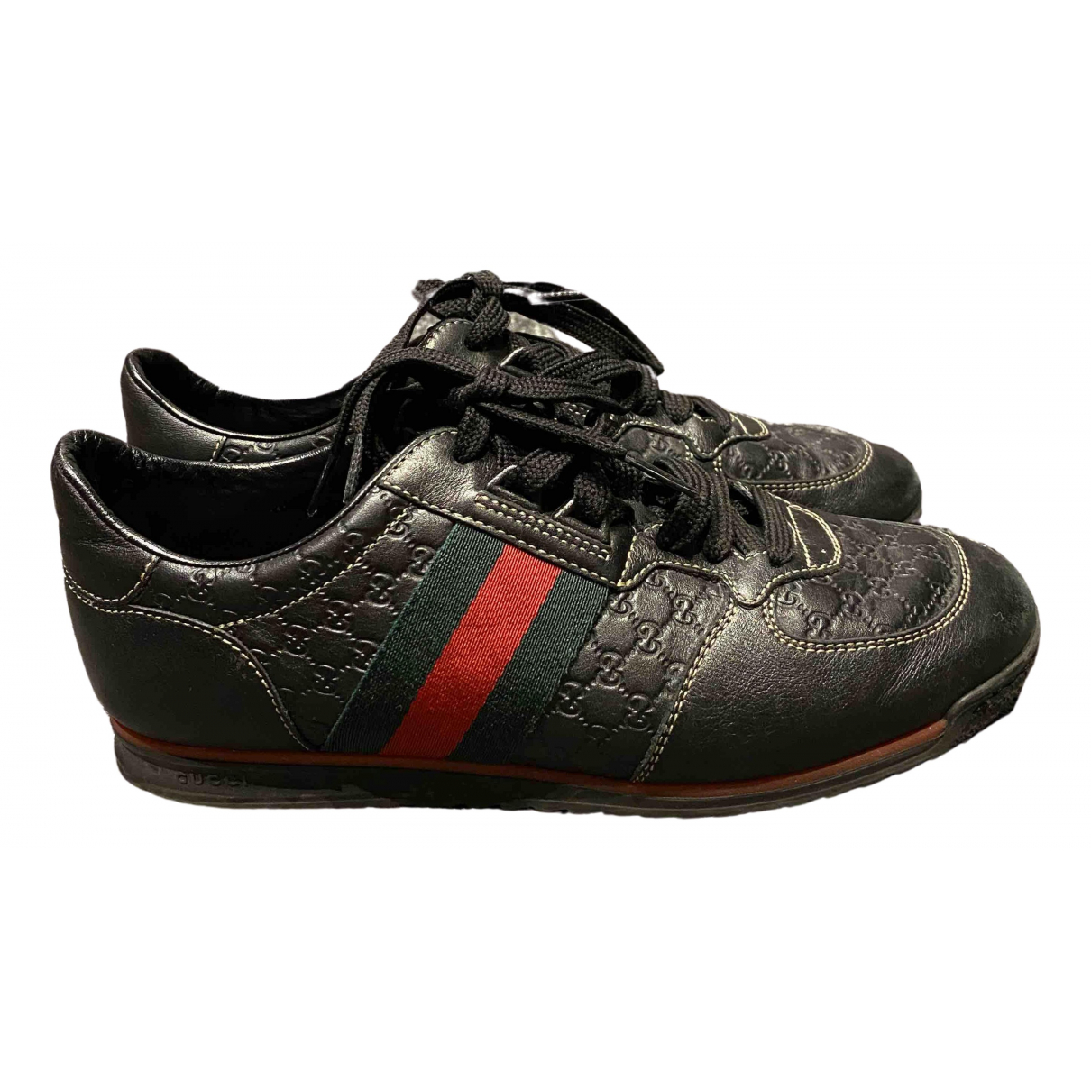 Gucci Gucci Dapper Dan Black Leather Trainers for Men 5 UK