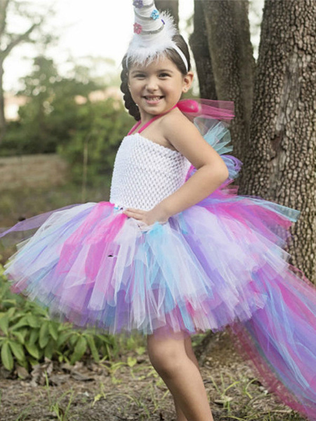 Milanoo Rainbow Unicorn Dresses Baby Girls Asymmetrical Princess Kids Tutu Fancy Dress Halloween Costume