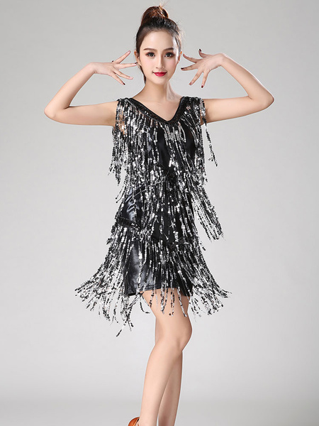 Milanoo Dance Costumes Latin Dancer Dresses Women Purple Tassels Skirt Dancing Clothing Halloween