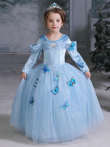 Milanoo Kids Frozen Cosplay Frozen Elsa Blue Dress Kids Cosplay Costumes