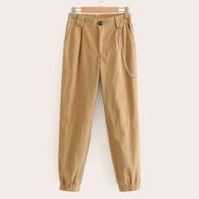 Chain Detail Solid Pants