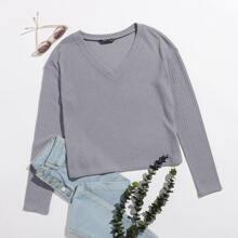 V-neck Rib-knit Solid Tee