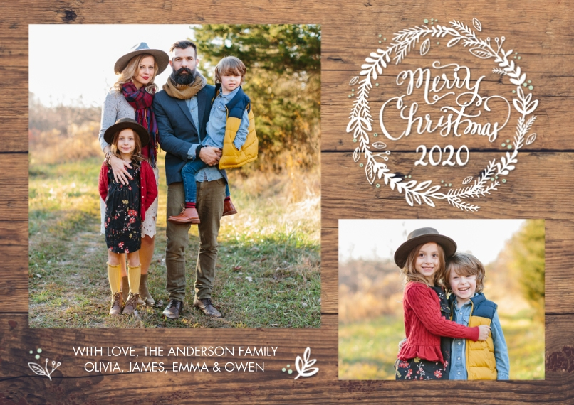 Christmas Photo Cards 5x7 Cards, Premium Cardstock 120lb with Elegant Corners, Card & Stationery -2020 Christmas Woodgrain by Tumbalina