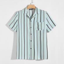 Men Pocket Patched Striped Shirt