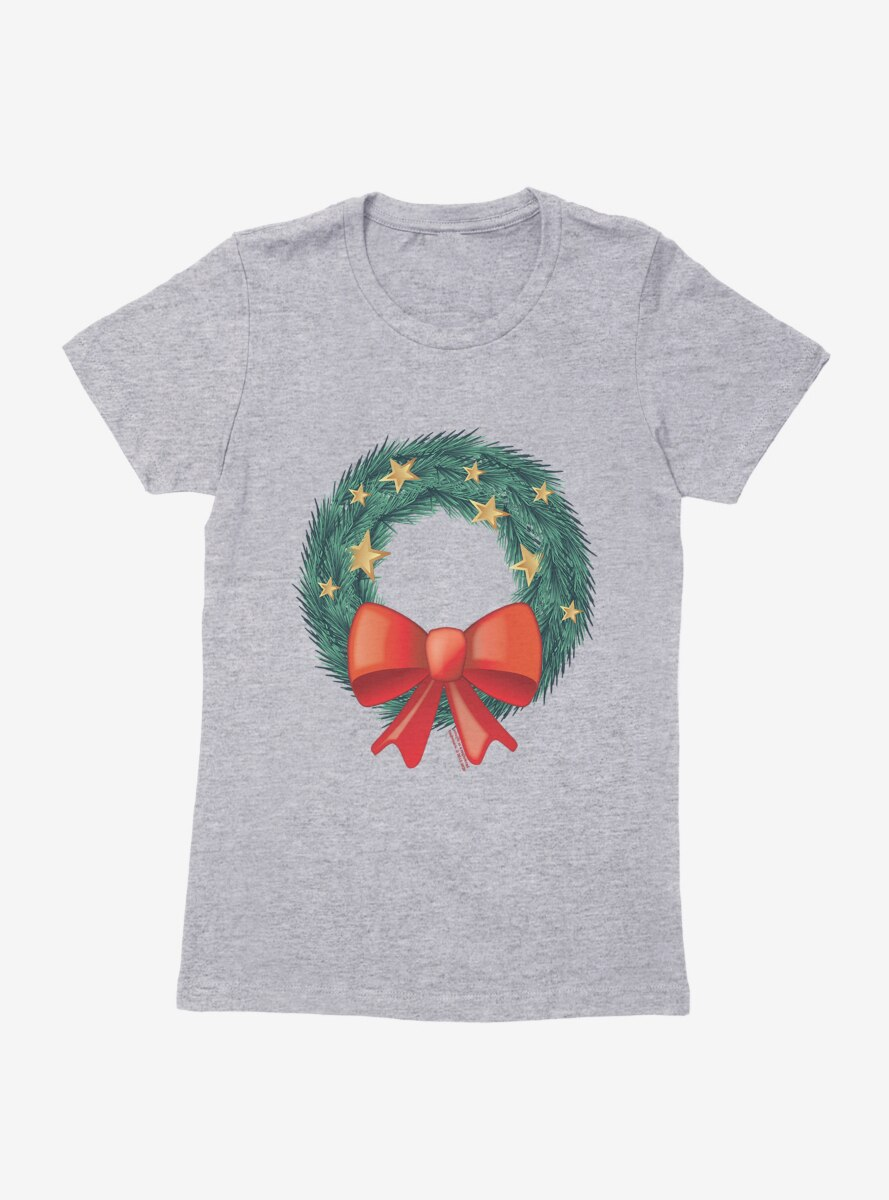 Emoji Holiday Icons Starry Wreath Womens T-Shirt
