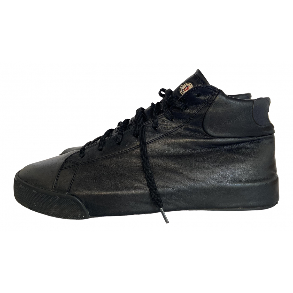 Moncler \N Black Leather Trainers for Men 42 EU