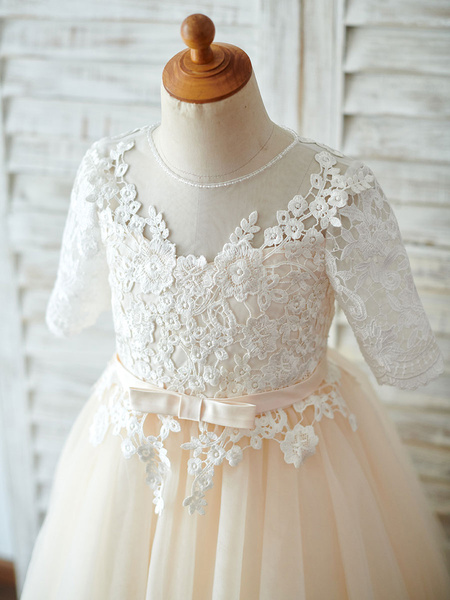 Milanoo Flower Girl Dresses Jewel Neck Short Sleeves Sash Kids Party Dresses