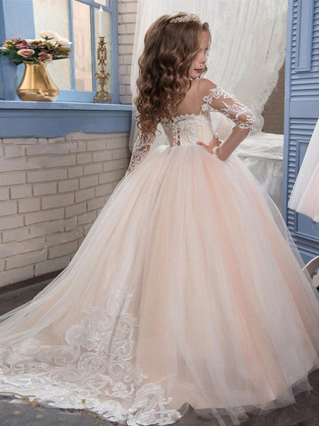 Milanoo Flower Girl Dresses Jewel Neck Long Sleeves Lace Formal Kids Pageant Dresses