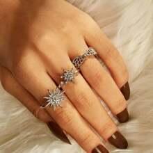 Rhinestone Flower Decor Ring 3pcs