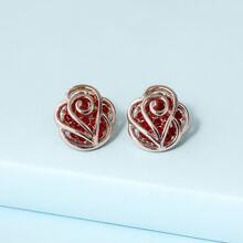Rhinestone Inlaid Stud Earrings