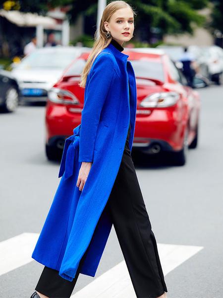 Milanoo Red Winter Coat Long Sleeve Stand Collar Women's Wool Coats