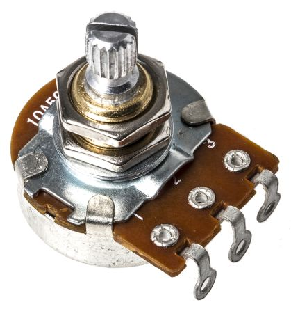 Bourns 1 Gang Rotary Carbon Potentiometer with an 6 mm Dia. Shaft - 500kΩ, ±20%, 0.25W Power Rating, Audio, Panel Mount
